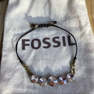Fossil- crystal and leather adjustable bracelet